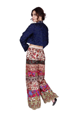 Huma Adnan - Indigo Silk Embroidered Vest With Pants