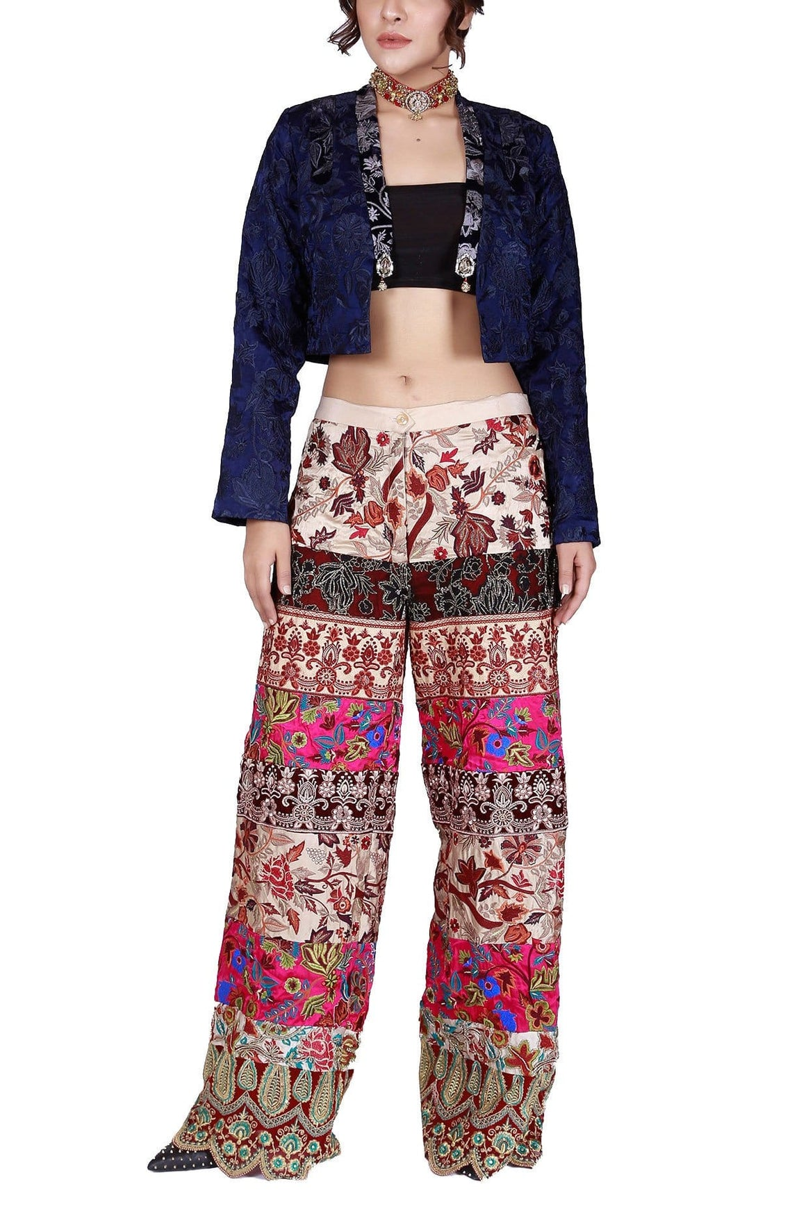 FnkAsia - Indigo Silk Embroidered Vest With Pants