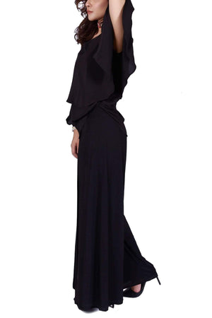 Huma Adnan - Black Silk Off Shoulder Shirt With Pants