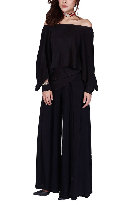 FnkAsia - Black Silk Off Shoulder Shirt With Pants