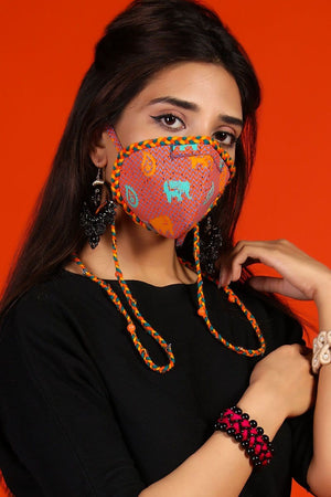 Huma Adnan - Red Elephant Print Mask