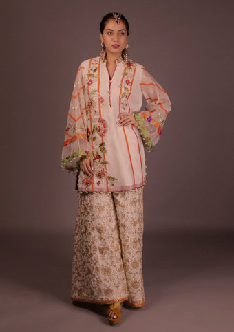 Fnkasia - White Full Embroidery Suit