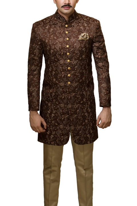 Amir Adnan - Brown Satin Sherwani