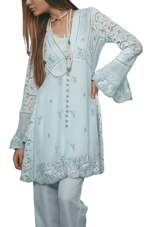 Sanam Chaudhri - Handcrafted 'Babydoll' shirt with a lace detailed slip & trousers.