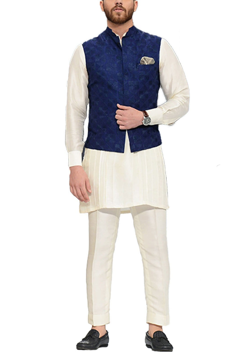 Sania Maskatiya - Blue Rawsilk Waistcoat with Kurta Pants