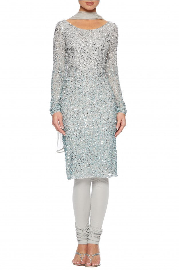 Raishma - Silver Beaded Churidar Net Suit