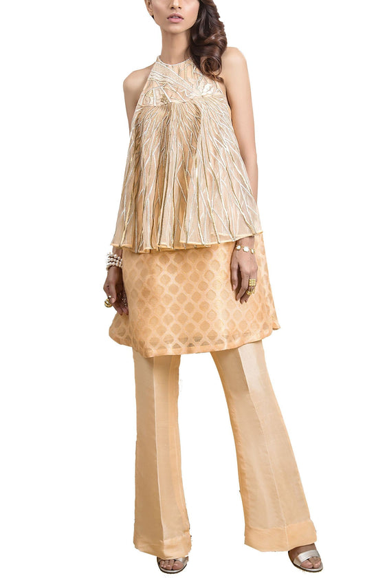 Tena Durrani - Rosie Net And Meysuri Zong Sleeveless Embroidered Top And Raw Silk Boot Cut Pant