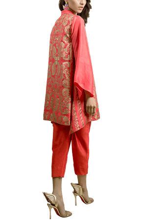 Tena Durrani - Mandarin Raw Silk Screen Printed Kameez And Raw Silk Cigarette Pants
