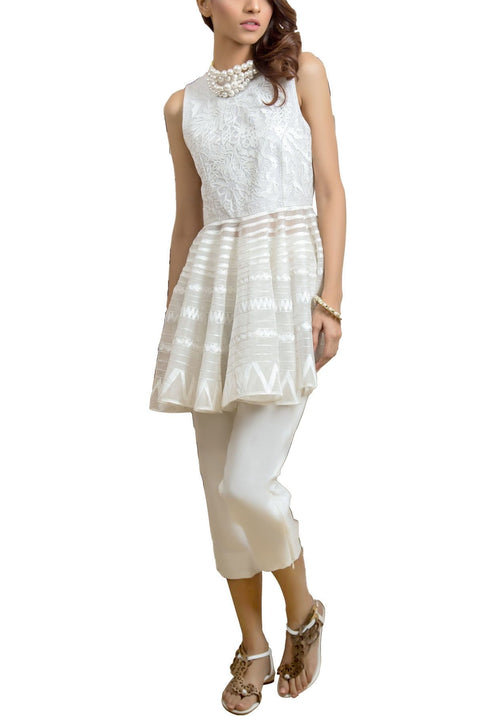 Tena Durrani - Dove Organza Sleeveless White Peplum And Raw Silk Cigarette Pants