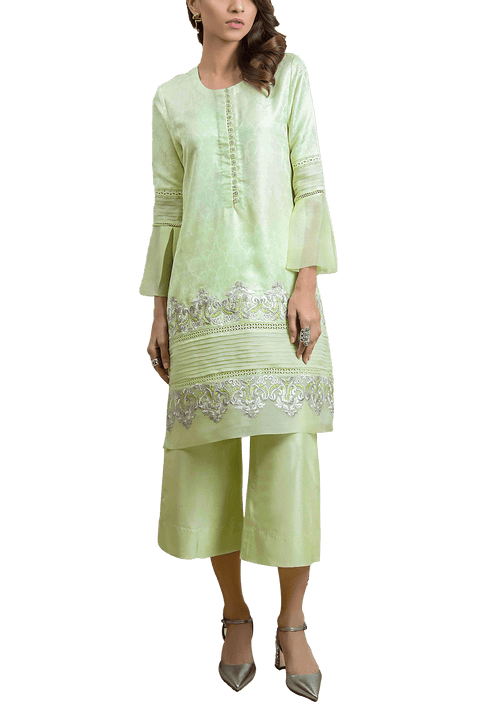 Tena Durrani - Spring Bud Self Jamavar Button Detailing  Shirt And Raw Silk Culottes