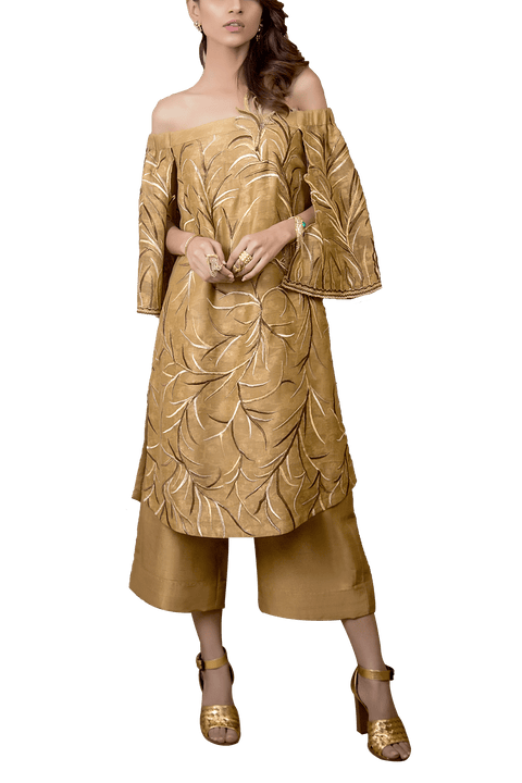 Tena Durrani - Hazel Cotton Net Jaal And Raw Silk Culottes