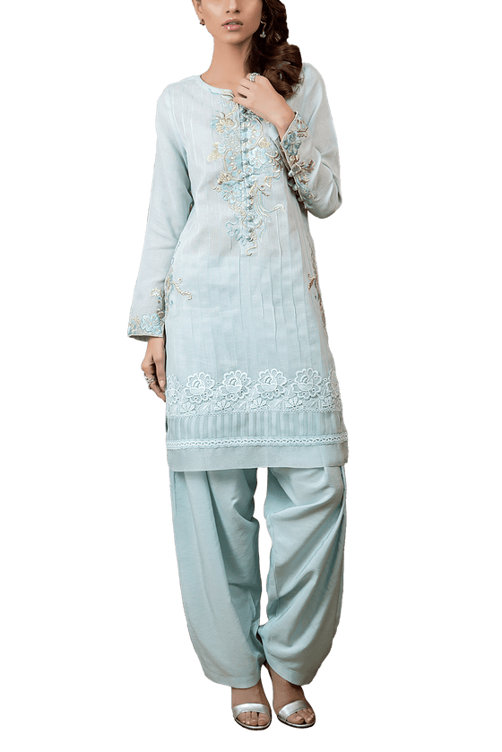 Tena Durrani - Serene Cotton Full Sleeves Kameez With Embroidered Neckline And Silk Shalwar