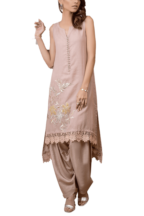 Tena Durrani - Hue Cotton Sleeveless Kameez With Cotton Shalwar