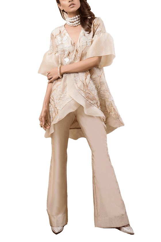 Tena Durrani - Dolce Oganza Embroidered Assymetric Wrap Top And Raw Silk Boot Cut Pant