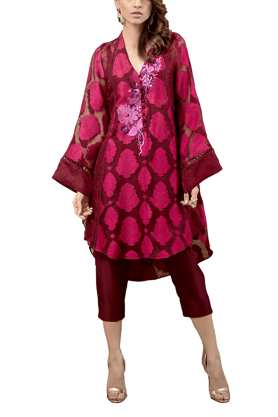 Tena Durrani - Amaranth Self Design Organza With Embroidered Shirt And Raw Silk Cigarette Pants