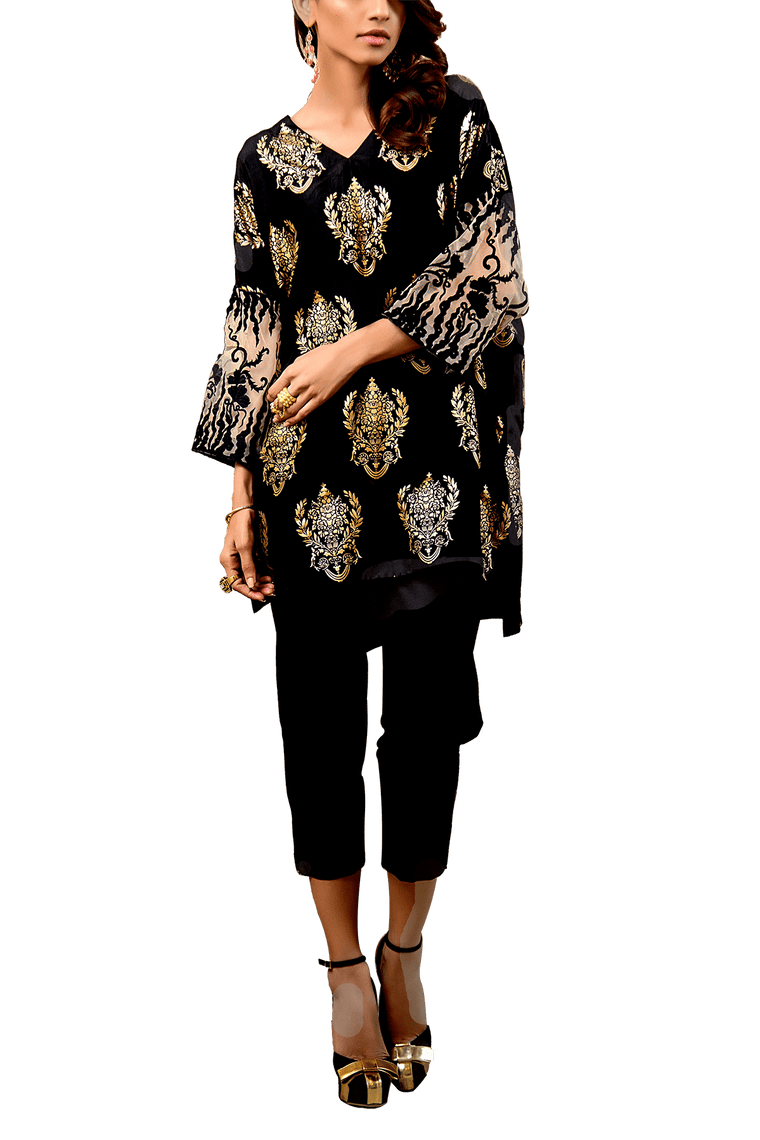 Tena Durrani - Sparro Raw Silk Screen Printed Shirt And Raw Silk Cigarette Pants
