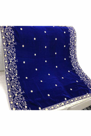 Designs by Amina - Dark Blue Velvet Shawl