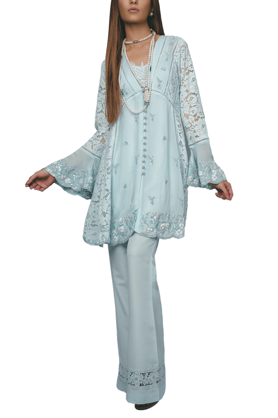 Sanam Chaudhri - Light Blue Handcrafted 'Babydoll' Shirt With A Lace Detailed Slip And Bootleg Trousers