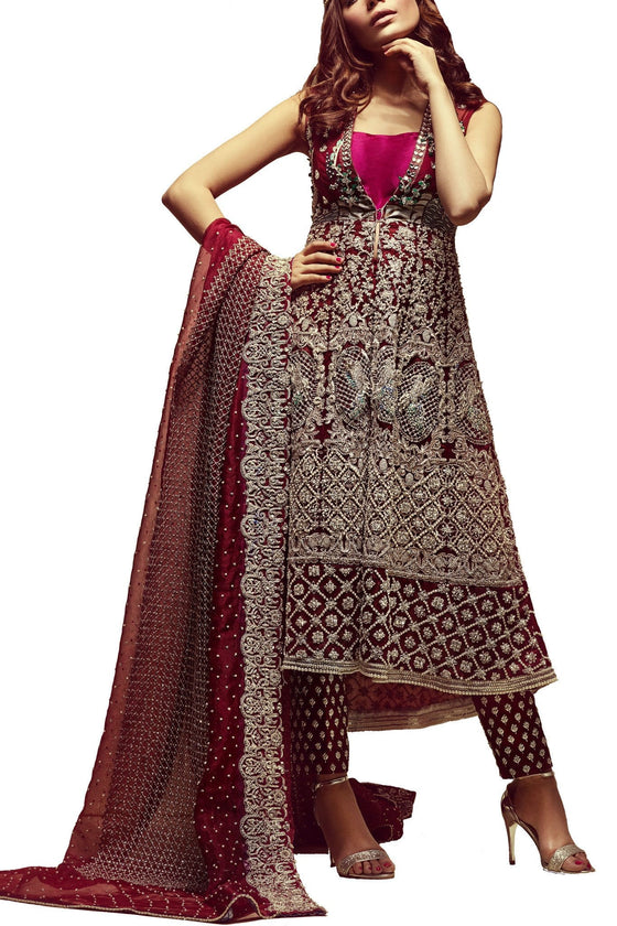 Mahgul - Red Entirely Hand Worked Net Shirt With Raw Silk Pants & Dupatta
