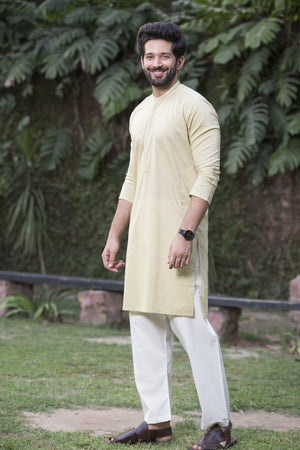 Bonanza Satrangi - Yellow Men Kurta - Clearance Sale