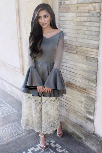 Samaira Ghani - Mocha & Off White Peplum With Culottes