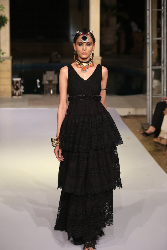 Huma Adnan - Bohemian Long Dress with Tiers