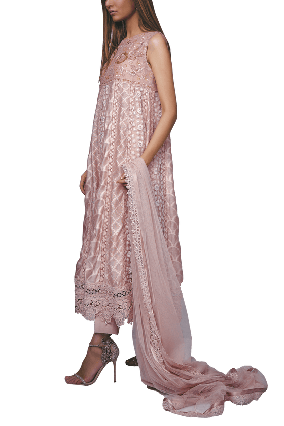 Sanam Chaudhri - Clover Pink Cotton Net Hand Worked Anarkali With Lace Pants