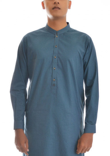Amir Adnan - Teal Cotton Slim Fit Suit