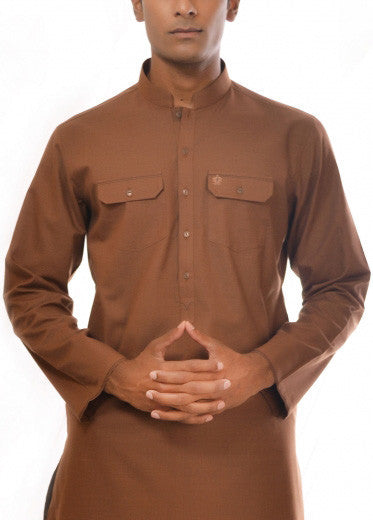 Amir Adnan - Brown Poly Viscose Suit