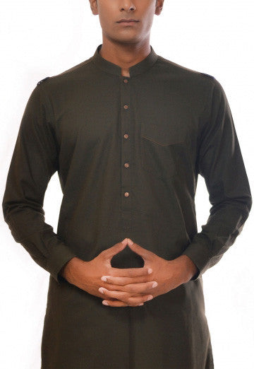 Amir Adnan - Dark Green Poly Viscose Suit