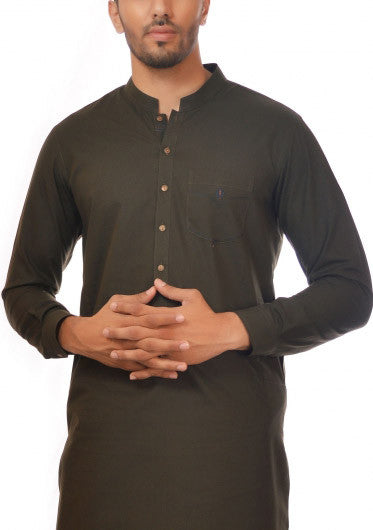 Amir Adnan - Dark Green Cotton Slim Fit Suit