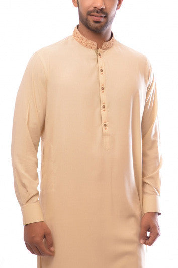 Amir Adnan - Wheat Poly Viscose Suit