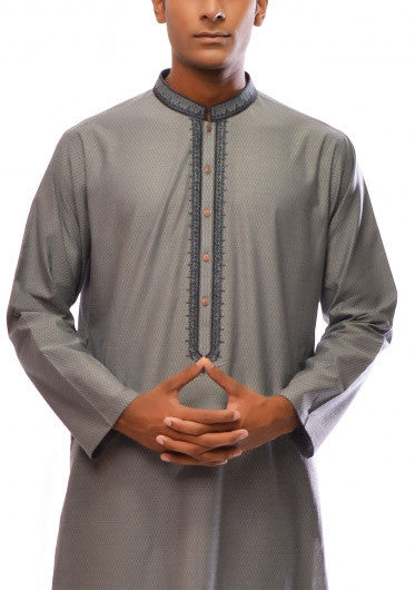 Amir Adnan - Grey Cotton Regular Fit Kurta