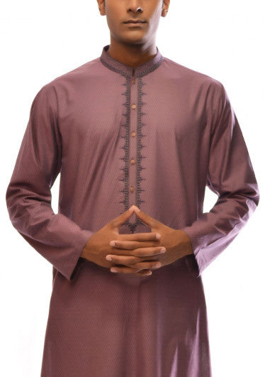 Amir Adnan - Brownish Pink Cotton Regular Fit Kurta