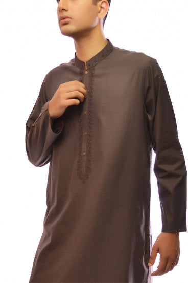 Amir Adnan - Dark Brown Cotton Regular Fit Kurta