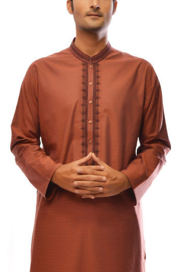 Amir Adnan - Rust Cotton Regular Fit Kurta