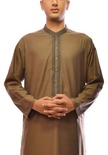 Amir Adnan - Mehndi Cotton Regular Fit Kurta