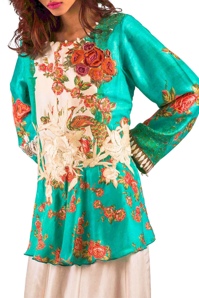 Shamaeel - Hand Embroidered Silk Tunic With Printed Scarf & Skirt
