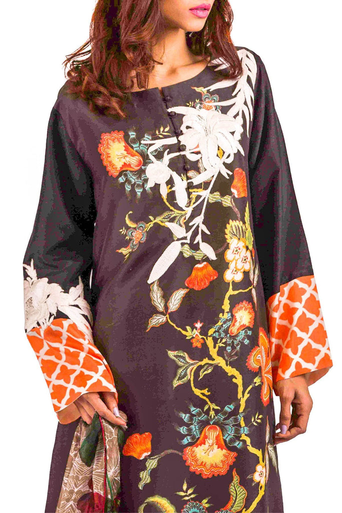 Shamaeel - Hand Embroidered  Silk Tunic With Printed Scarf