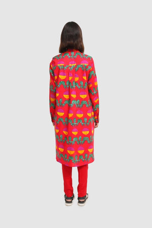 Generation - Red Turnip Puff Sleeves Kurta - 1 PC