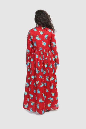 Generation - Maroon Florid Dress - 1 PC