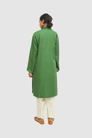Generation - Green Satin Sheen Shatranj Kurta - 1 PC