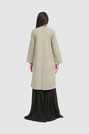 Generation - Grey Dusty Gold Embroidered Kurta - 1 PC