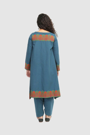 Generation - Teal Kashmiri Jama Flared Shirt - 2 PC
