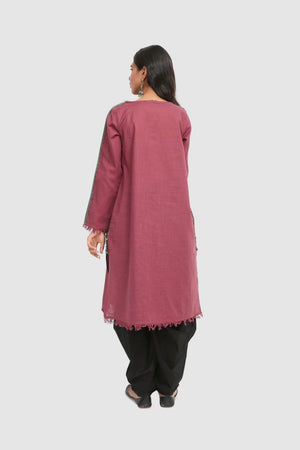 Generation - Plum African Kutch Fringe detailed Kurta - 1 PC