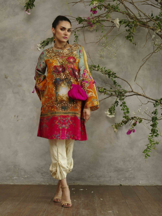 Shamaeel - Pure Silk Orange Tunic