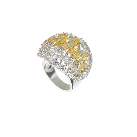Amishi - Silver And Yellow Zirconia Crystal Ring