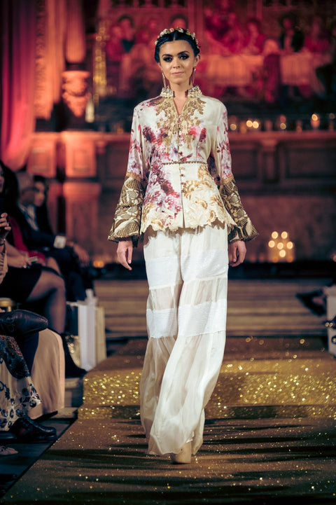 Shamaeel - Silk Peplum Hand Embroidered Shirt With Flaired Silk Pants