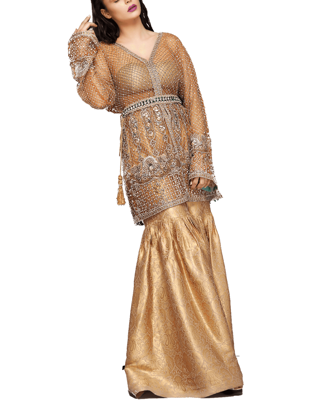 Mahgul - Gold Embroidered Net Jacket With Jamawar Blouse & Jamawar Sharara
