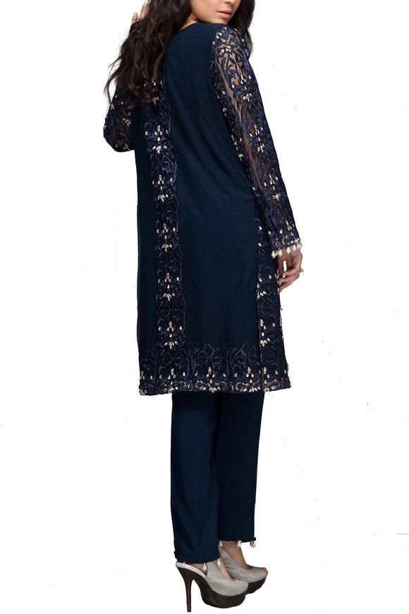 Mahgul - Blue Embroidered Net Shirt With Pants & Velvet Shawl